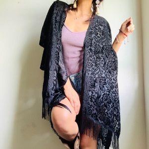 Sweaters - Black Fringe Kimono
